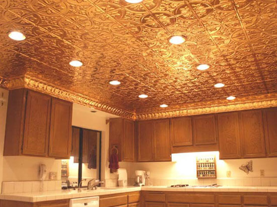 kitchen ceiling with polished copper ceiling tiles