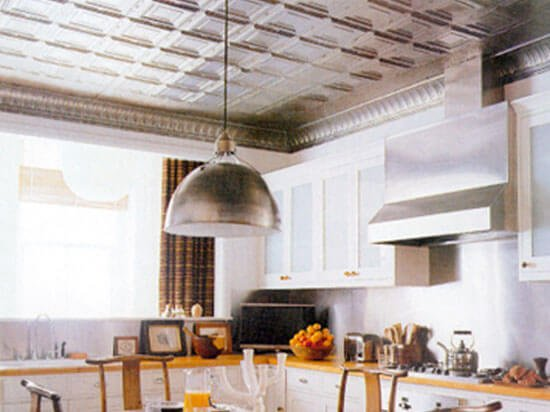kitchen with aluminum ceiling tiles