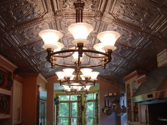 kitchen with decorative metal ceiling tile