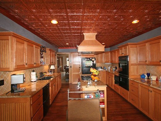 kitchen with faux tin ceiling tiles