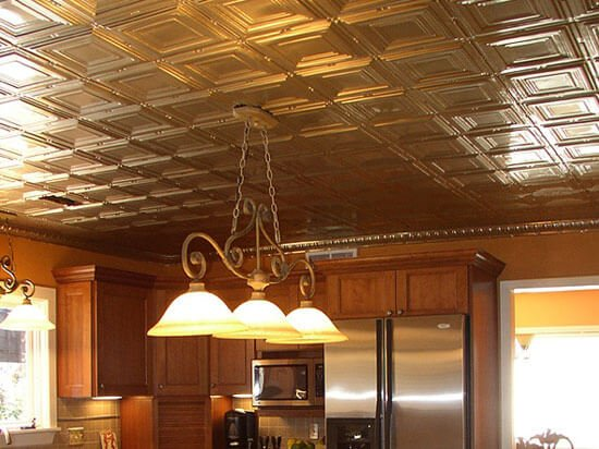 kitchen with metal ceiling tiles