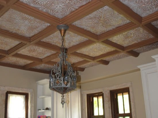 kitchen with wood beam and styrofoam ceiling