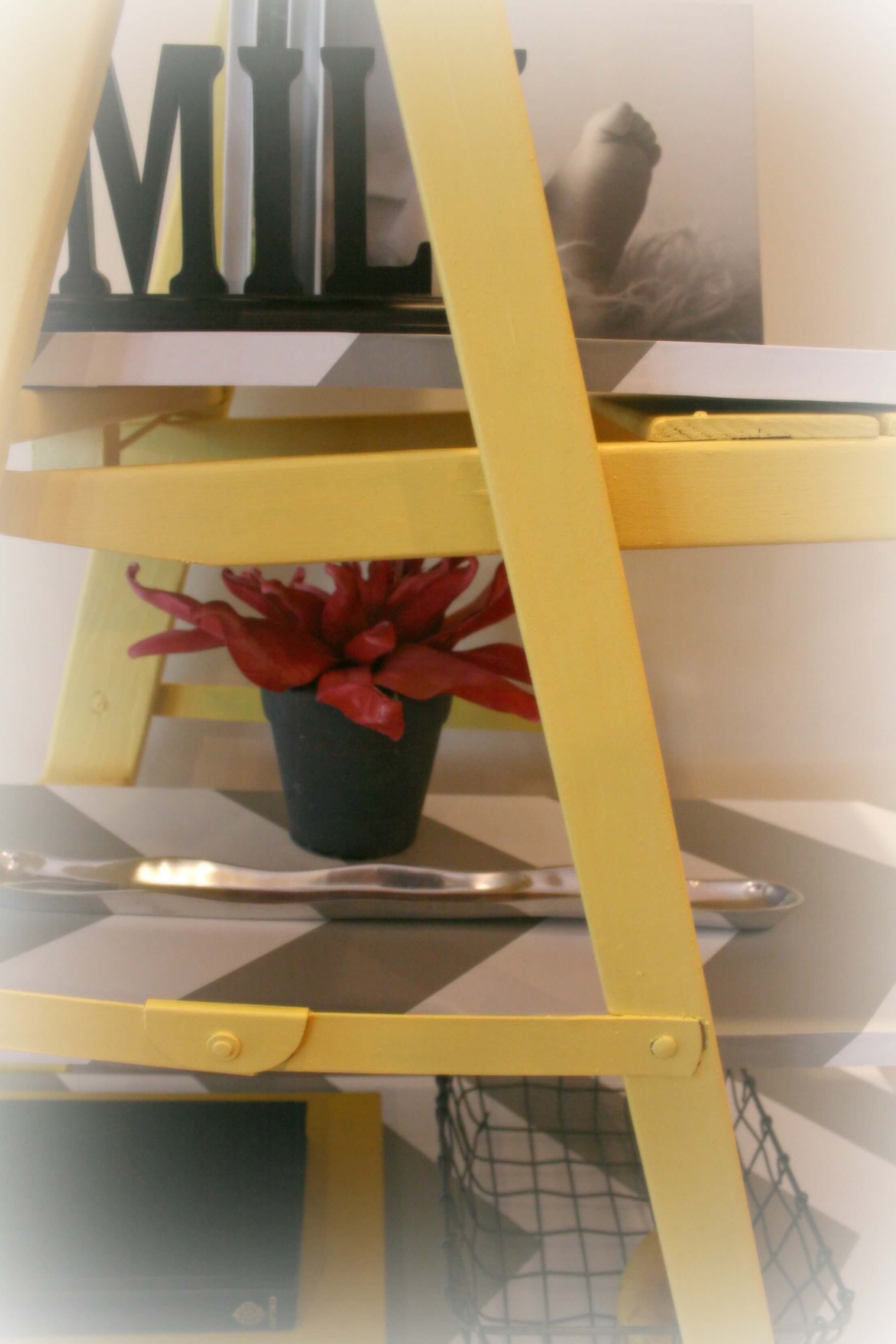 Another close-up view of this homemade vintage shelving unit