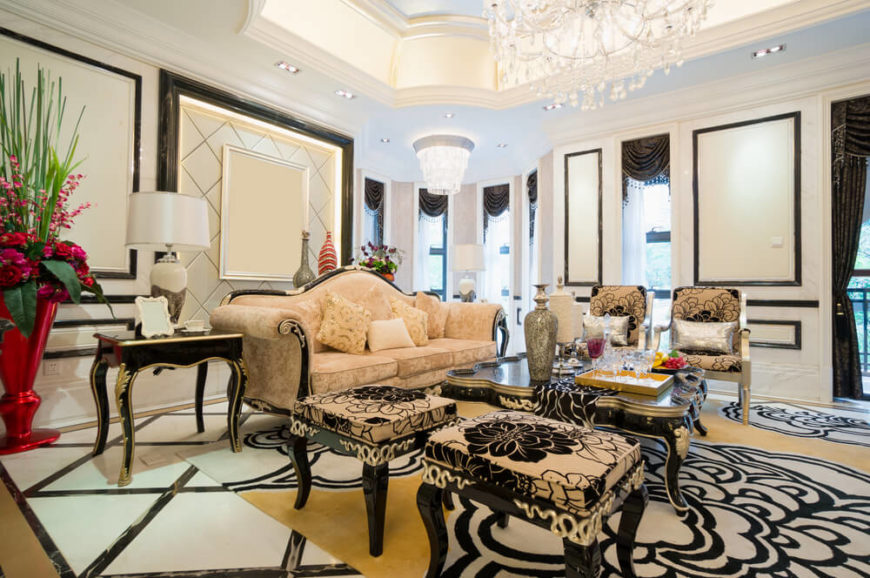 Living room with zebra print rug and ottomans