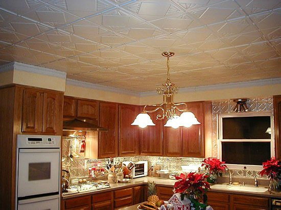 traditional kitchen with decorative metal ceiling