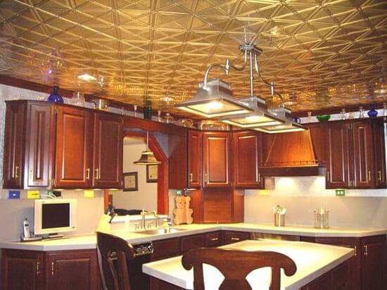 wood kitchen with metal ceiling tiles