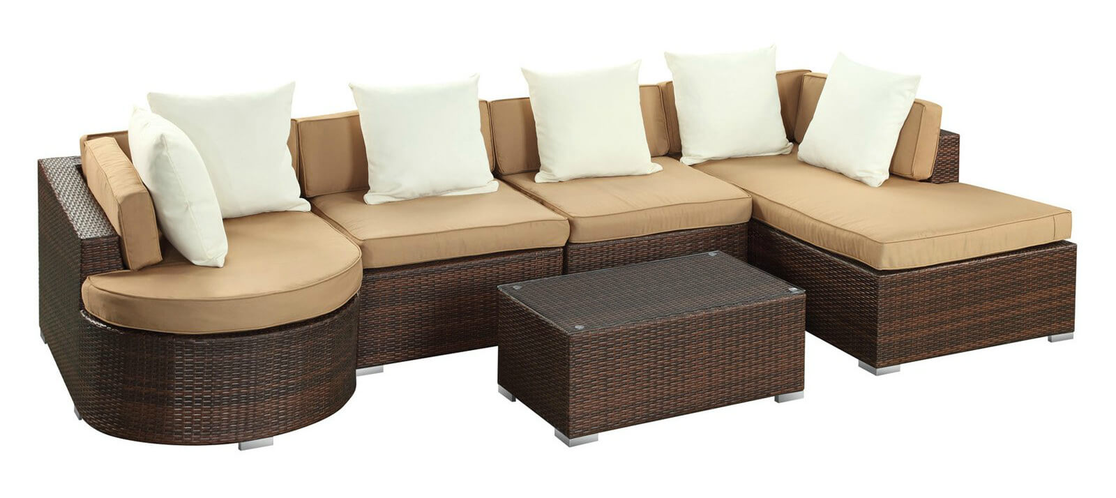 Rich dark resin wicker body on this patio sectional includes chaise on right and rounded large chair piece on left, with glass topped table included at center.
