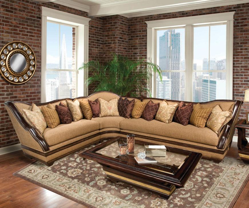 Carved Mahogany Transitional Sectional Sofa