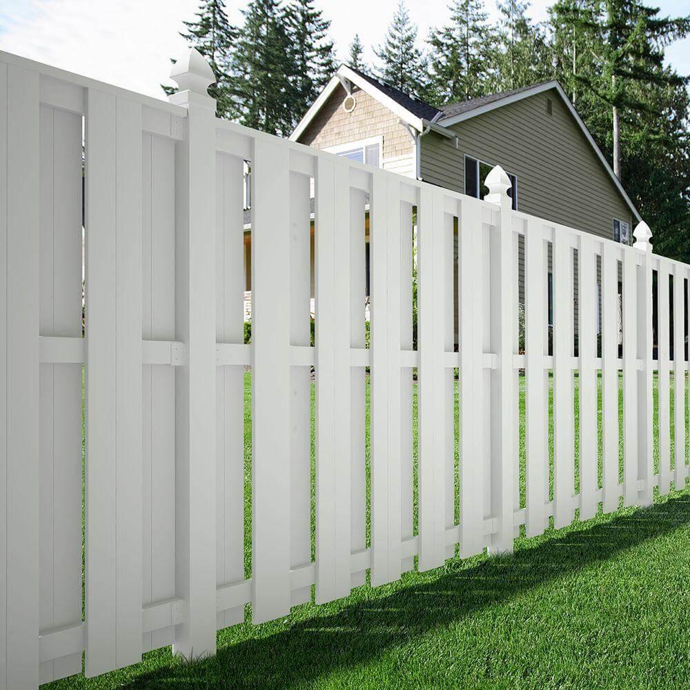 White Shadow Box Fence