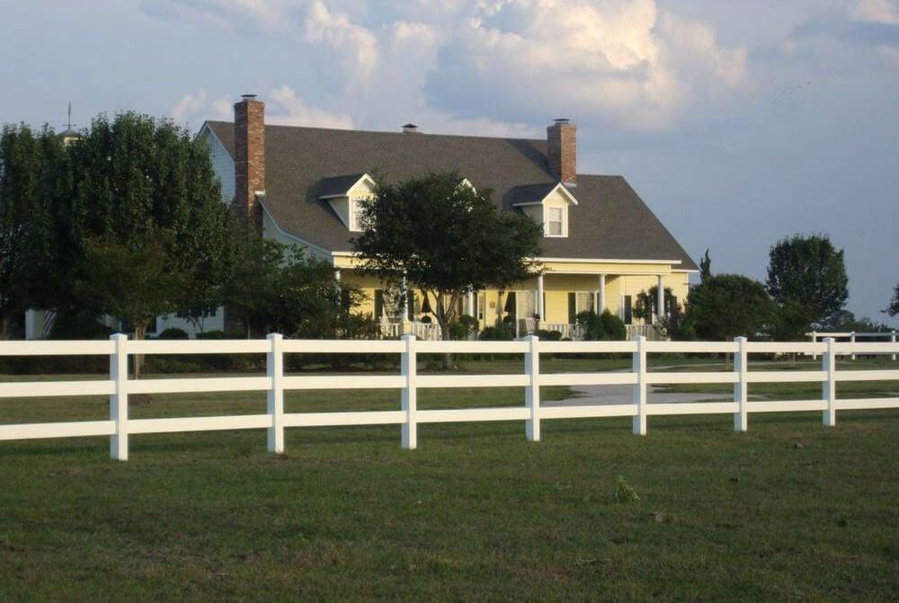 3 Rail White Fence