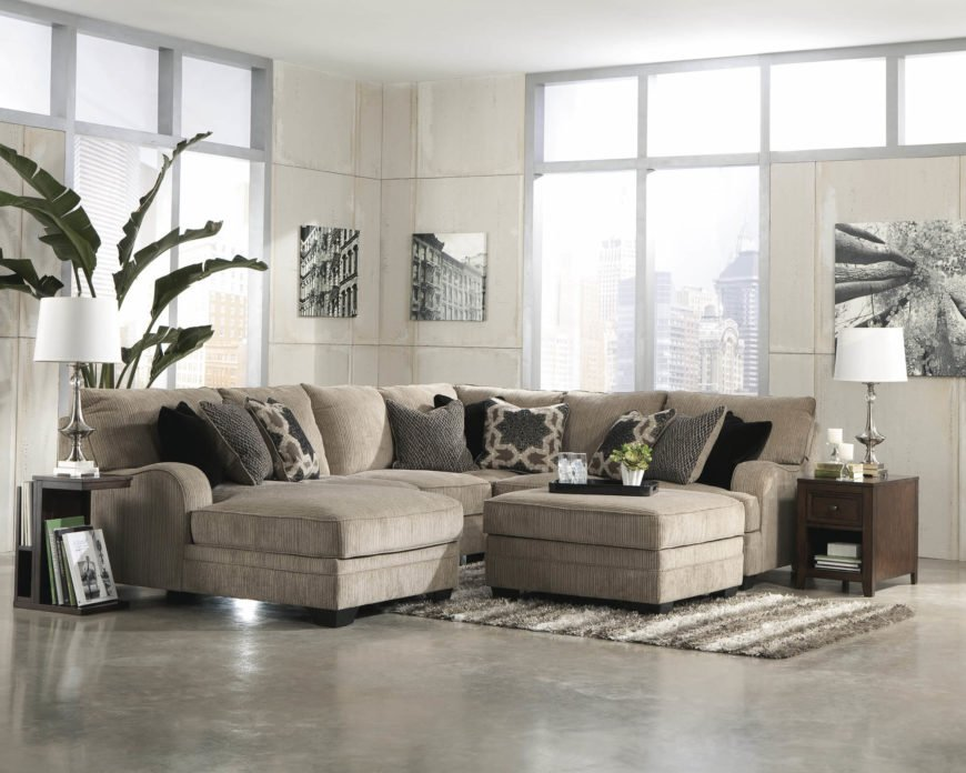 Contemporary Double Love Seat Chaise Sectional