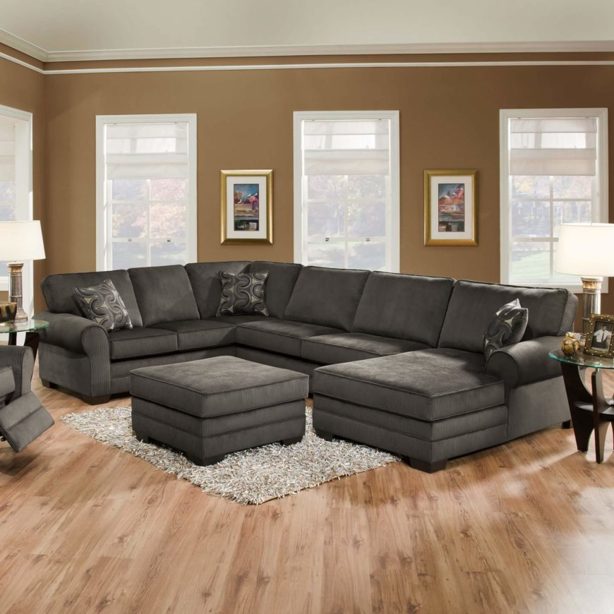 Multi-part Grey Sectional with Chaise