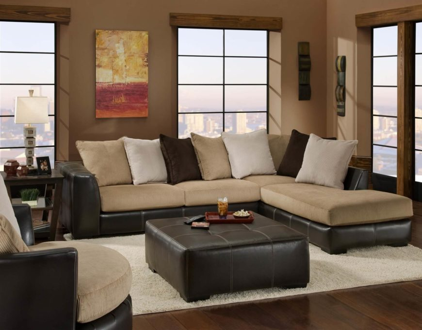Two-tone Leather Bottom Sectional