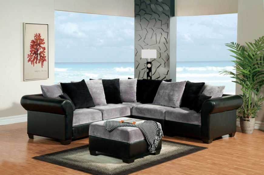 Black and Grey Leather Sectional