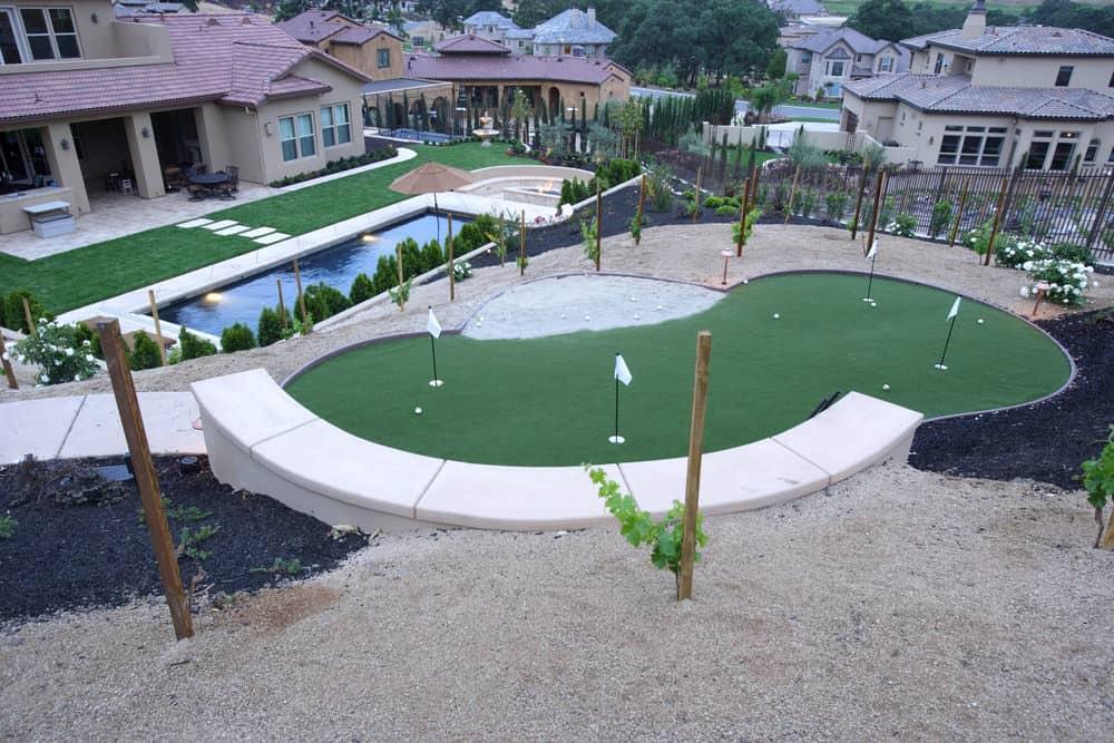 Luxury backyard putting green