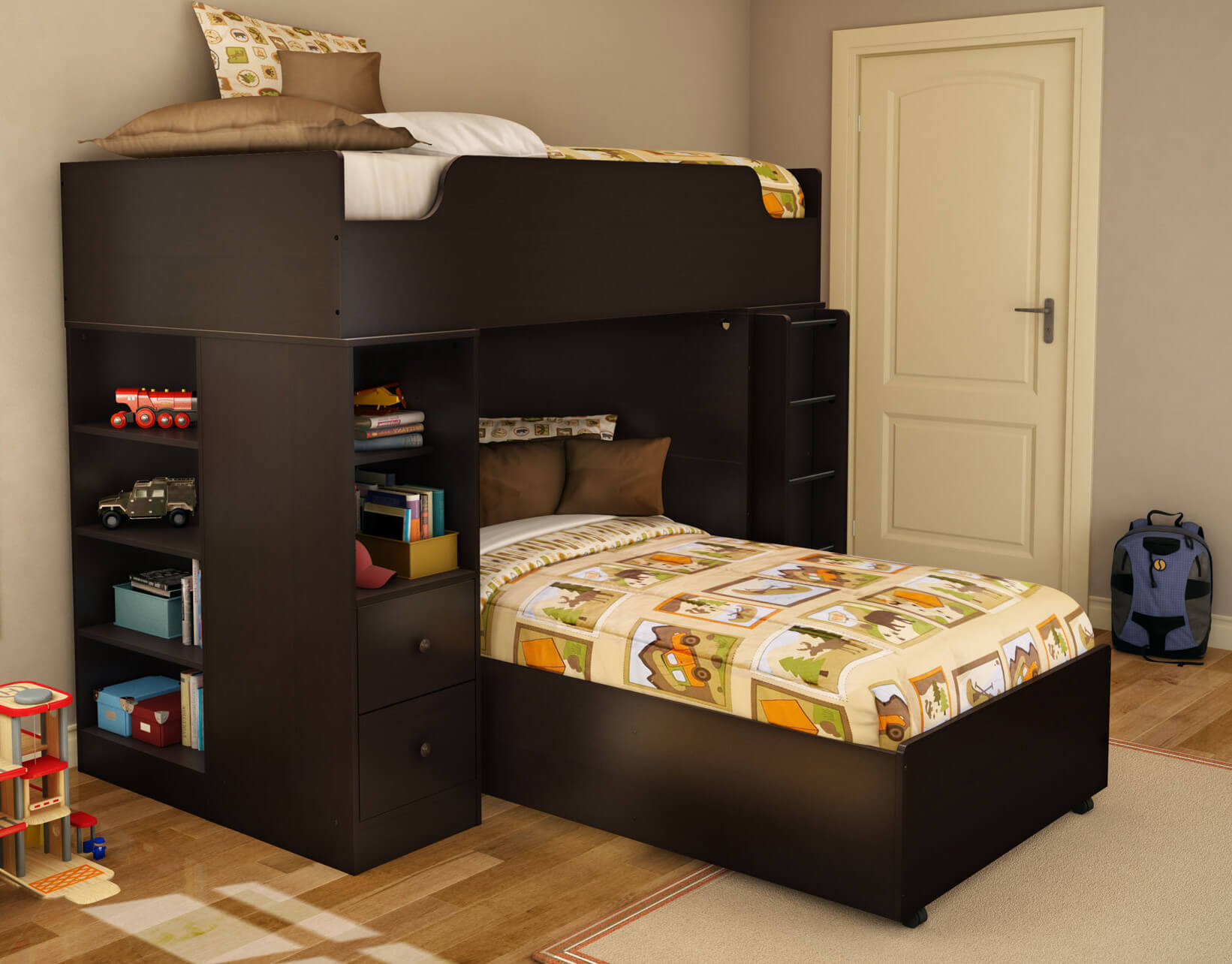 The photo above doesn't show it, but there's a desk on the far side. As you can see, this dark wood L-shaped bunk offers plenty of storage as well. The materials is engineered wood.