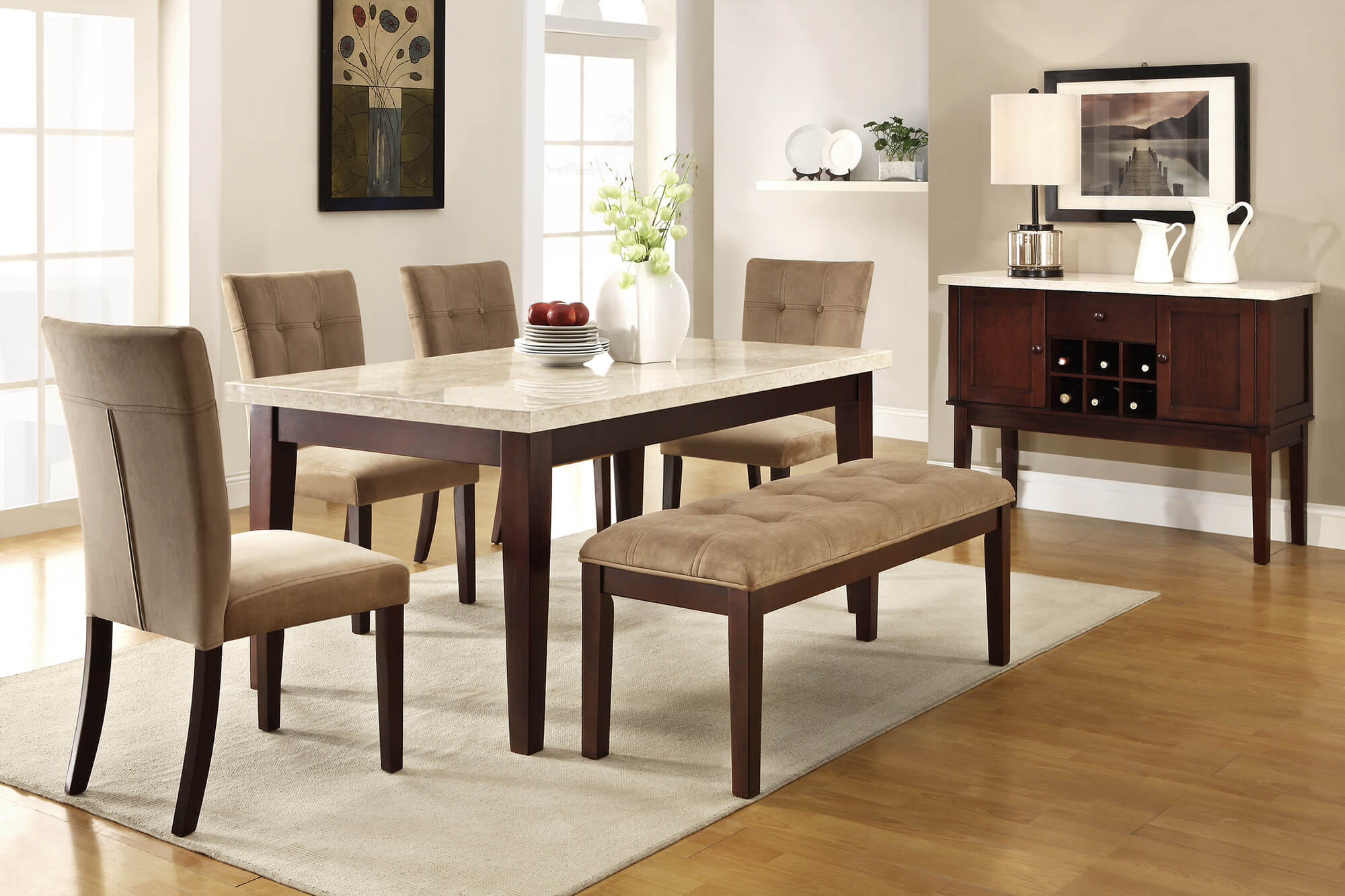 Here's a 6 piece rubberwood dining set with faux marble table top with tan upholstery for a lighter dining room color scheme.