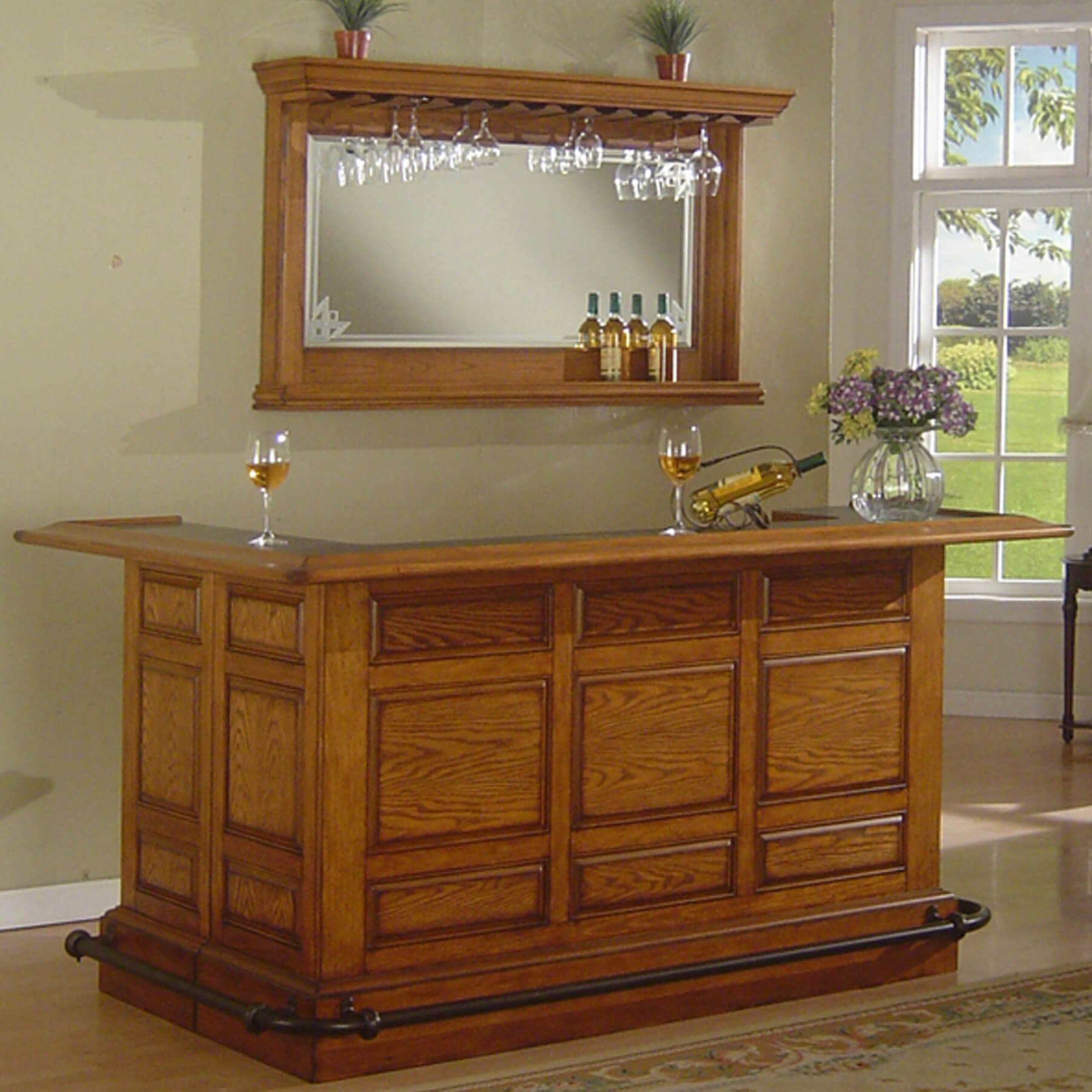 Solid wood home bar with wrap-around counter.