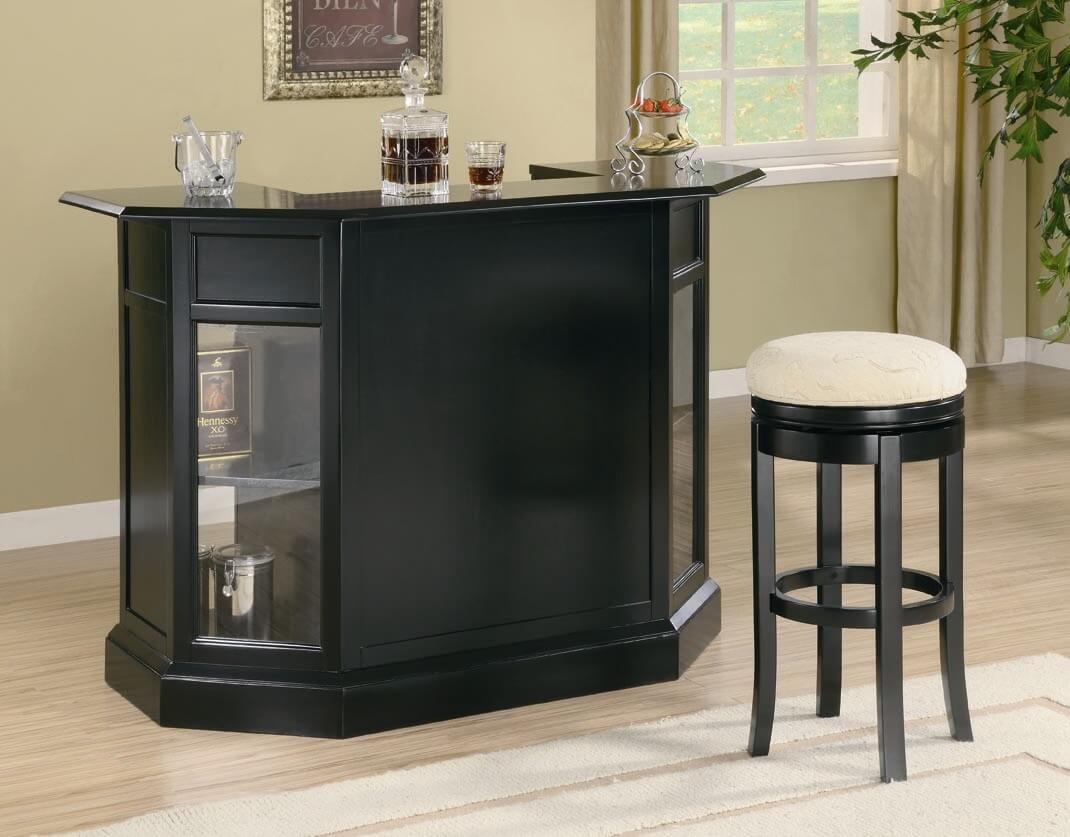 Front view of a black home mini-bar.