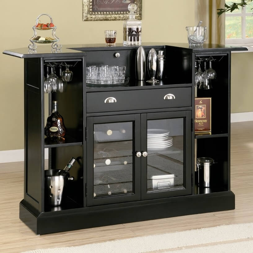 Rear view of home bar with extensive storage and glass-faced cabinets.