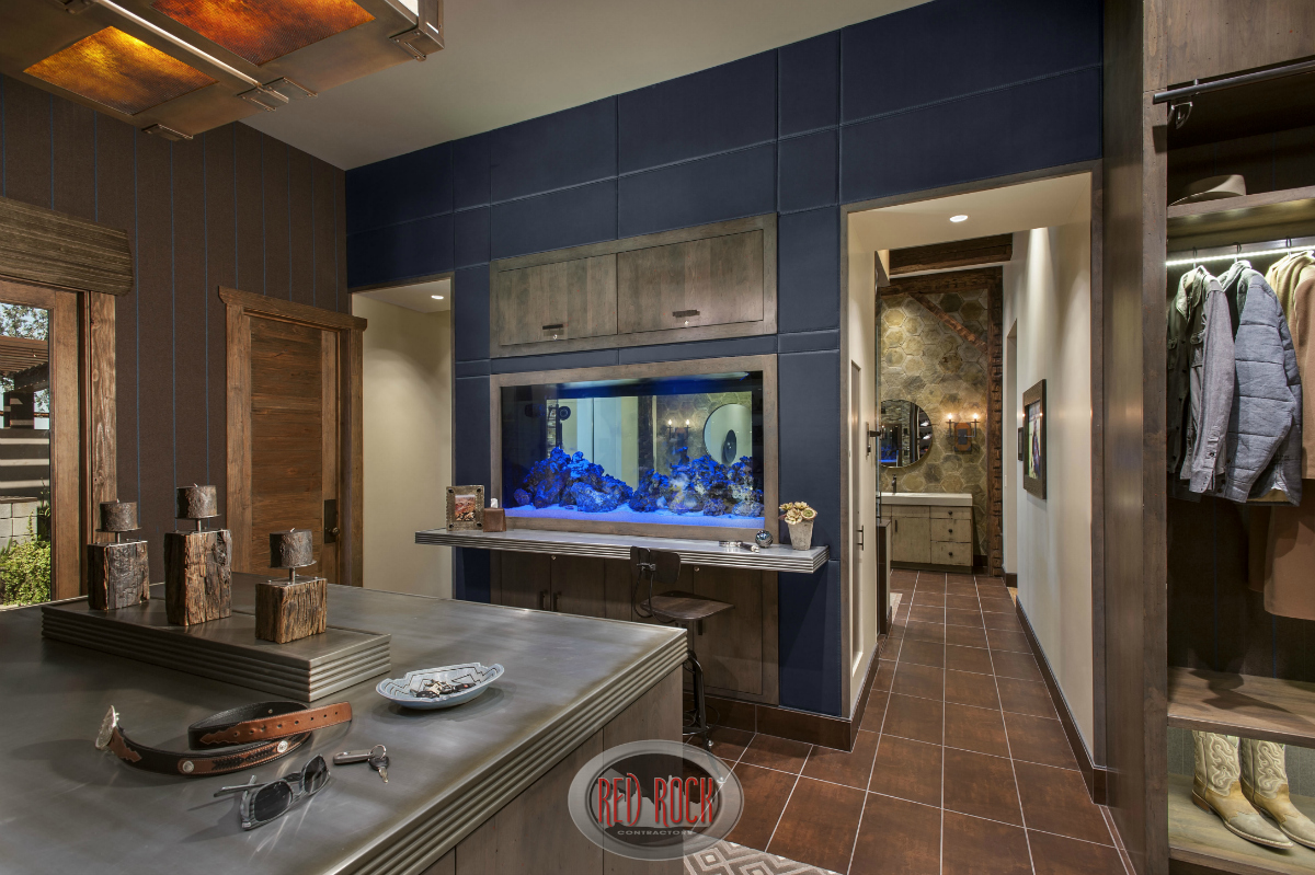 This is one angle of what is a truly spectacular walk-in closet that includes an aquarium, dressing counter and plenty of space.