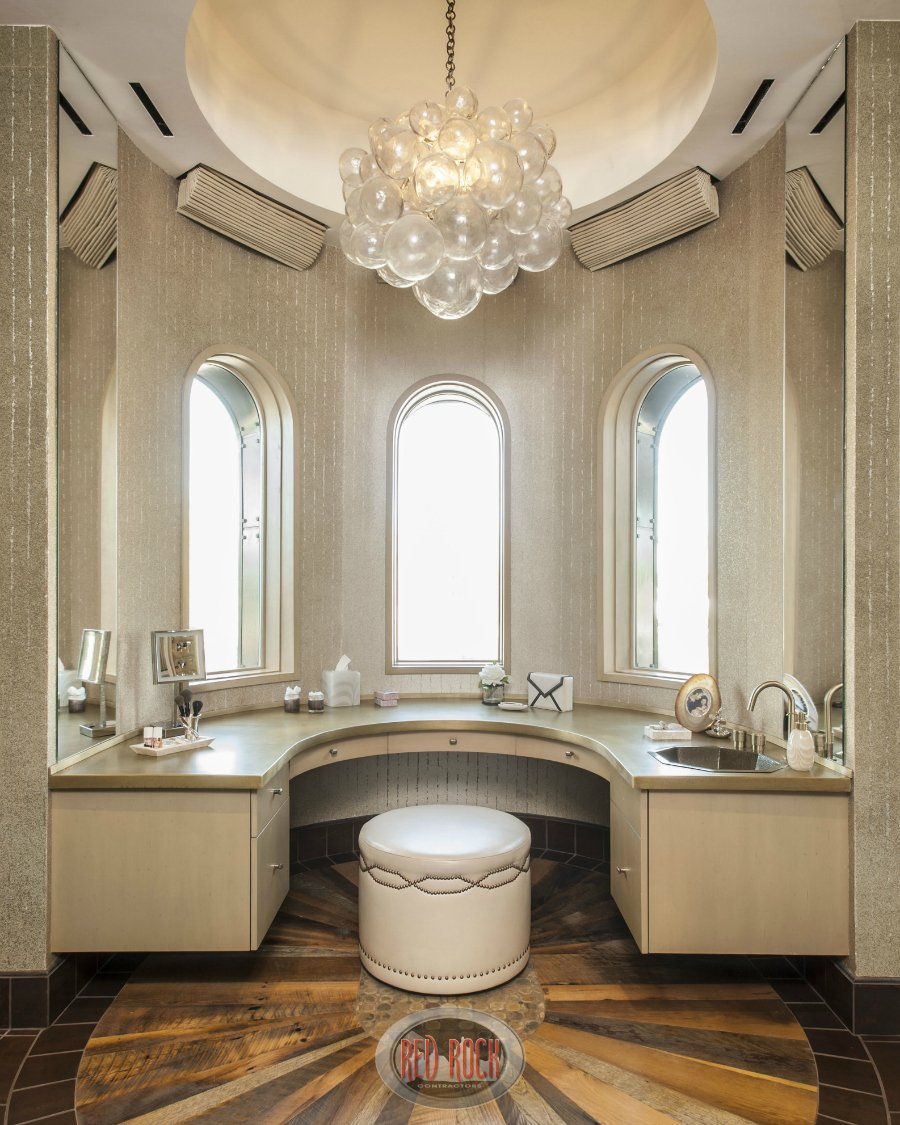 Another view of the built-in vanity and dressing area.