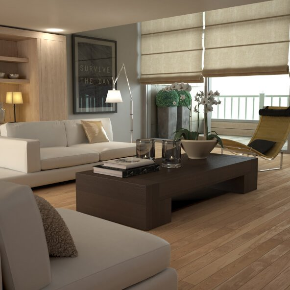 Modern minimalist style abounds in this living room, with low slung dark wood coffee table centering a space populated with light beige sectionals and yellow, metal framed chaise. Floor to ceiling windows partially shaded drop natural light on the light hardwood flooring.