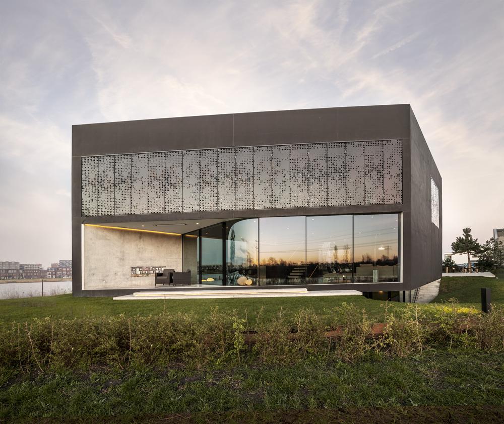 "Outside view of ultra modern home ""Villa Kavel""."