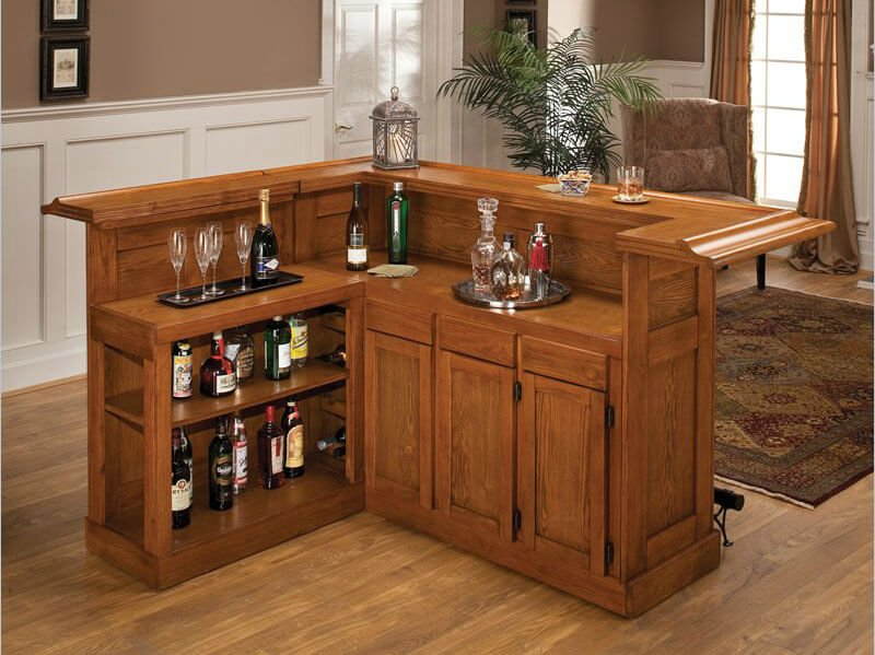 This wood bar includes a wrap-around upper counter as well as a behind-the-bar prep counter which is very handy.