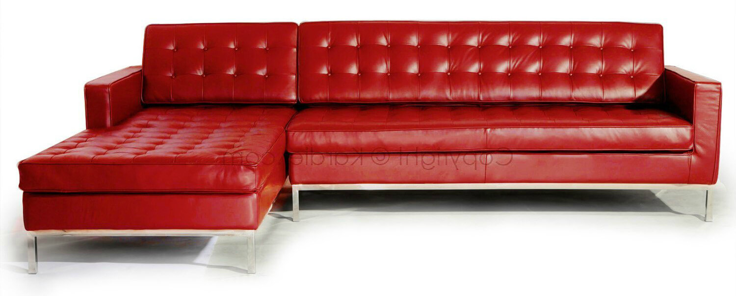 This is a truly beautiful modern red leather (tufted) sectional with stainless steel legs. Materials used are top-notch with Italian leather upholstery and multi-density foam for the seating and back.