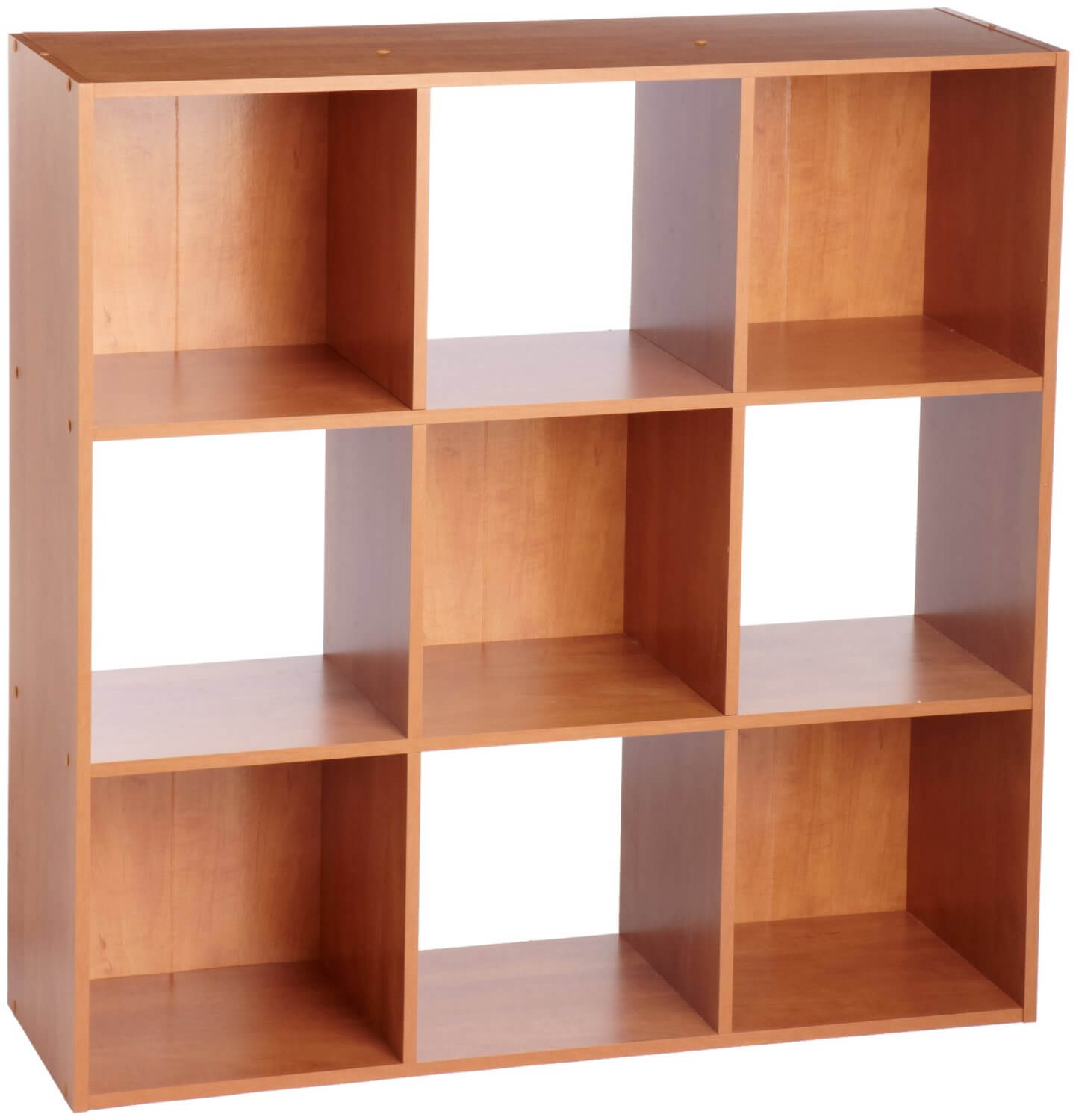 I love the color on this checkered 9 cube bookshelf. The checkered pattern is achieved with use of shelving backs on alternate cube sections. Otherwise, it's a traditional shelf design.