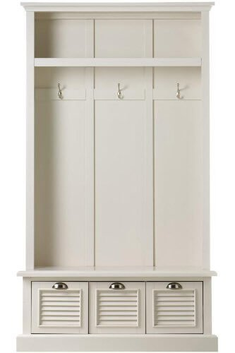 """While this unit isn't broken up into separate sections, it has defined hooks and storage while looking great. Not everyone wants the """"locker"""" or """"cubby"""" storage solution... especially in an entry hall."""