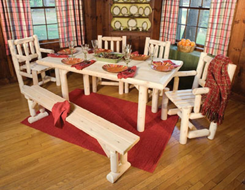 Here's another log cabin style dining set with bench. It provides a real natural look and is no doubt very solid. The wood used is white cedar.