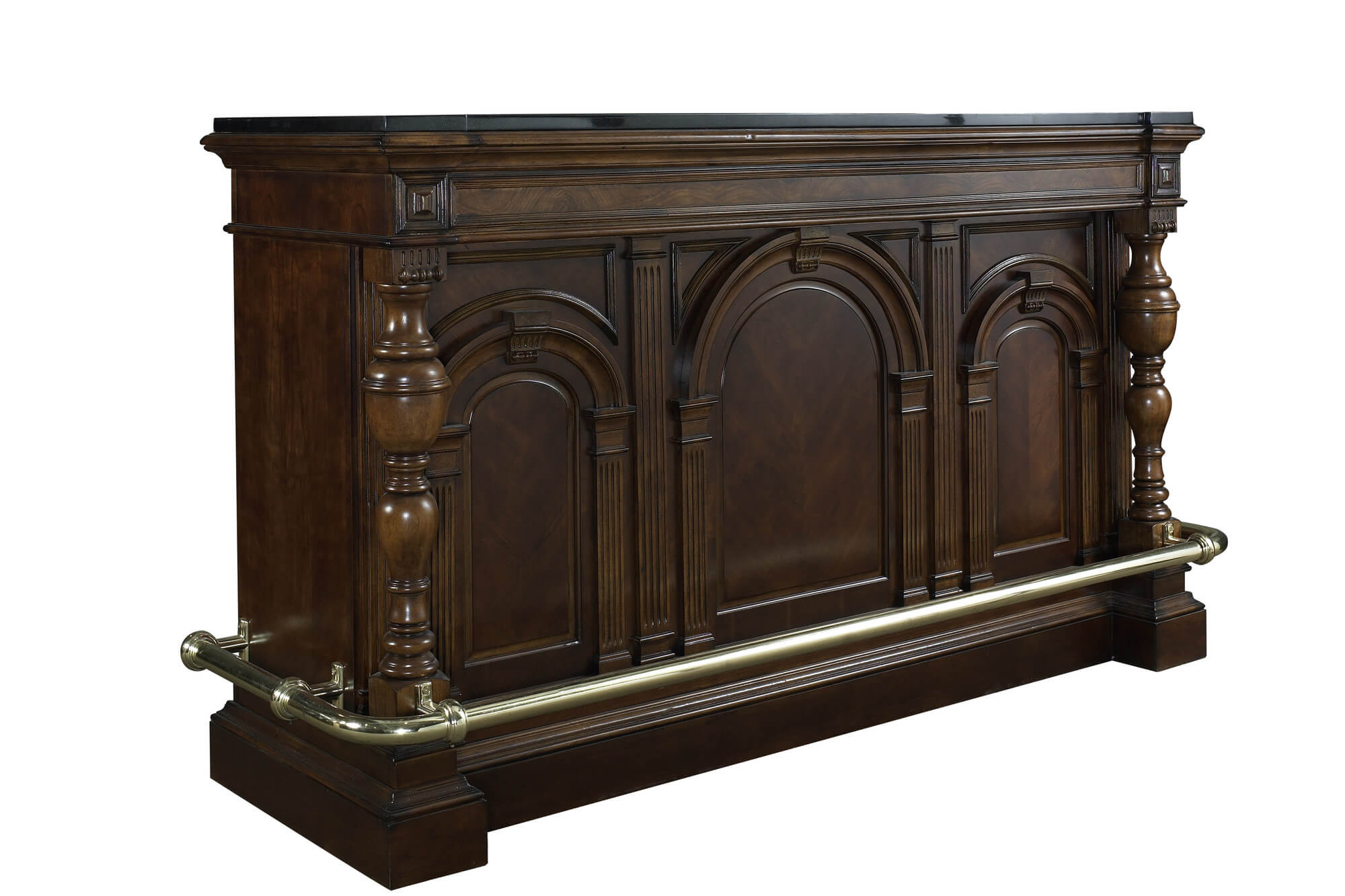 If you want masculine, this is the home bar for you. It's large and sturdy and designed for the classic masculine bar environment.