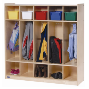 3-tier mudroom-locker system for kids