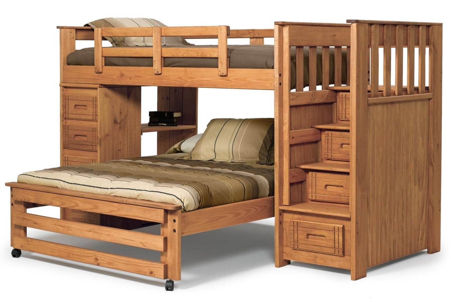 Here's a pine L-shaped bunk with twin over full. Instead of a ladder, there is a storage staircase to the upper bunk. The lower full bed is on wheels. The side opposite to the stairs includes drawers and open shelving.