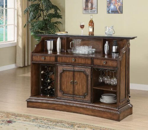For a smaller home bar unit, it offers decent storage options including a wine rack.