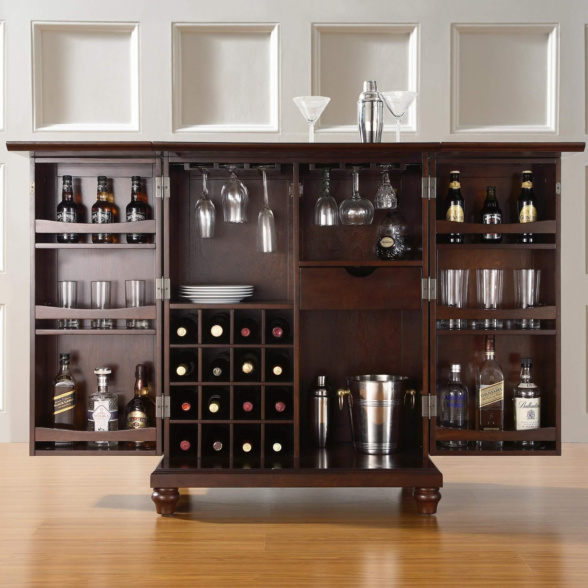 Rear storage view of elegant compact home bar cabinet set.