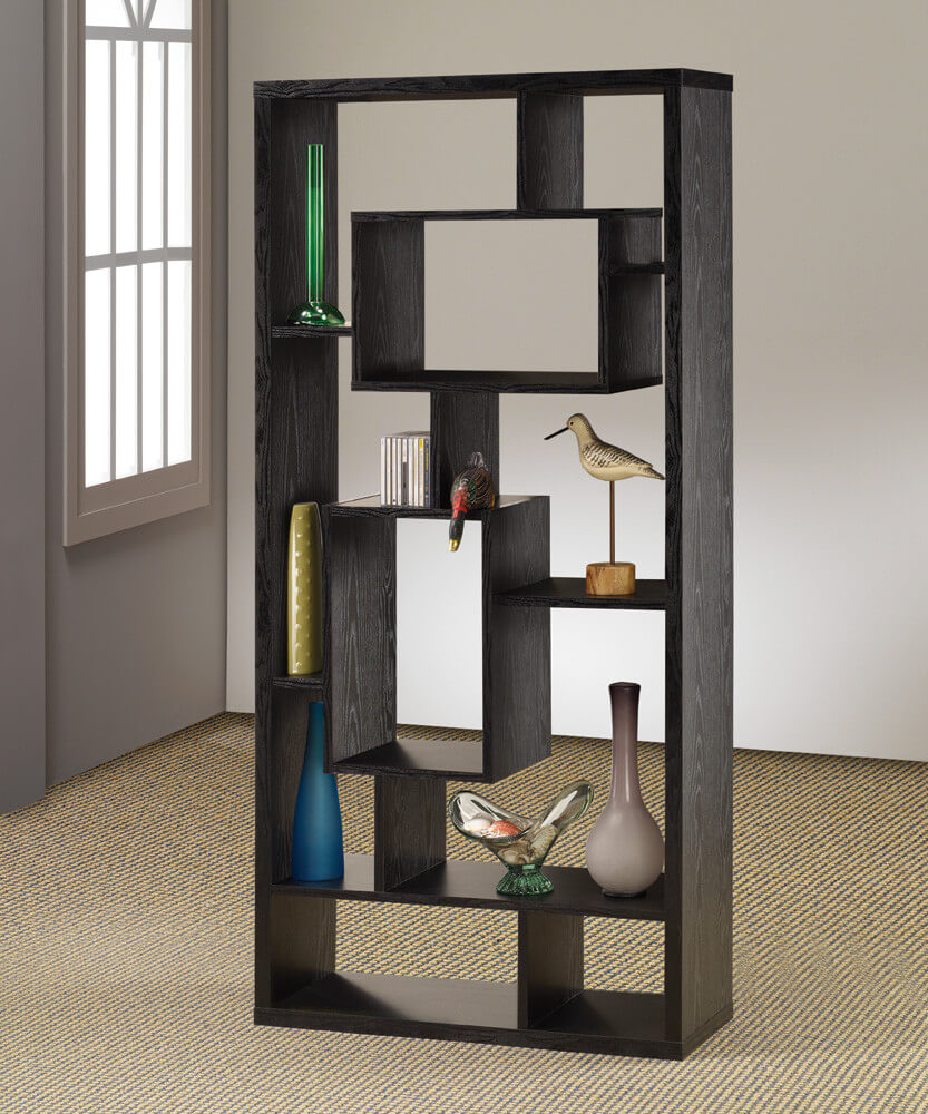 This is a very popular 10 cube asymmetric cube shelving unit (backless) with varying sized shelf sections. Some are tall to accommodate vases and flowers while others are wider perfect for books.