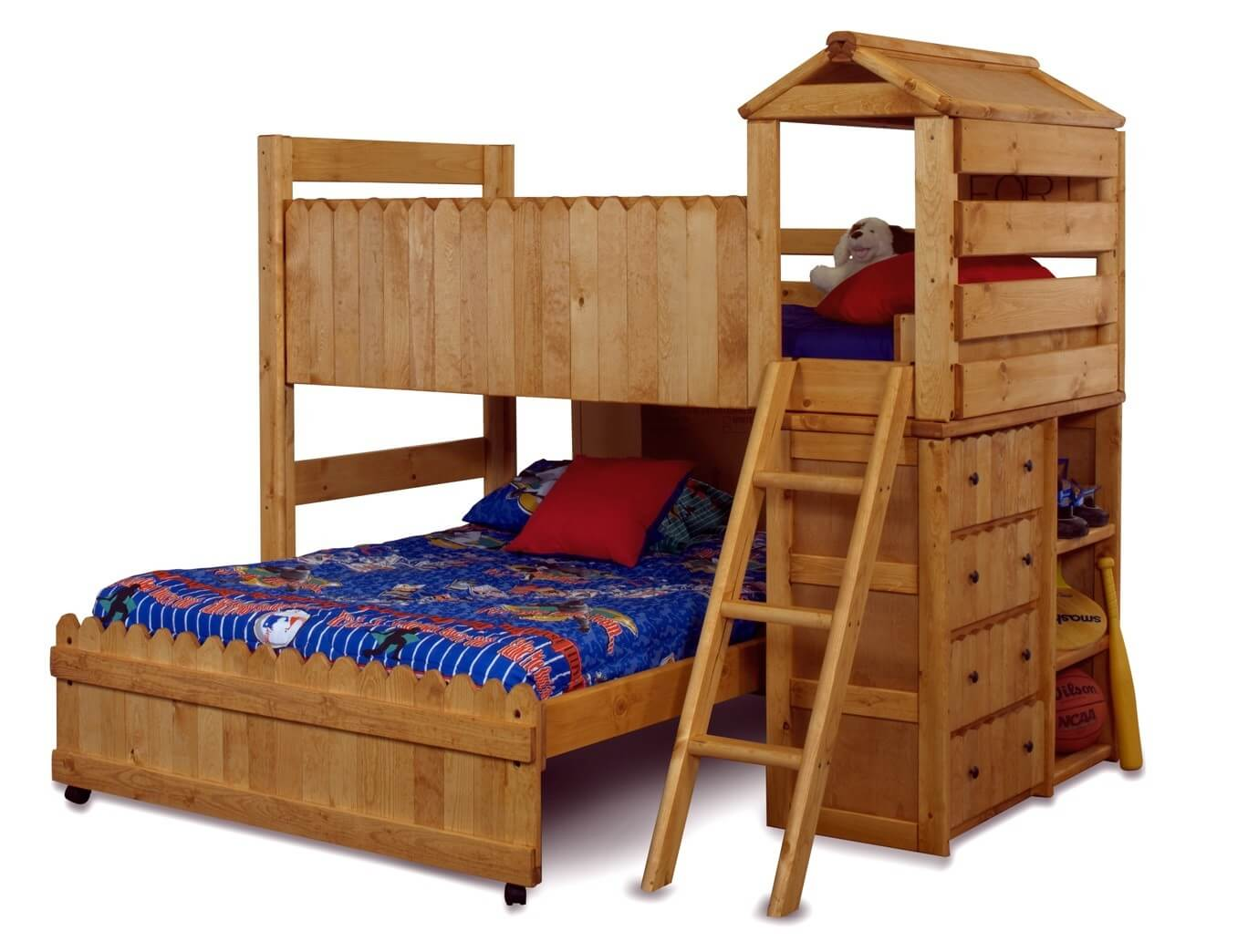 Solid pine twin over full bed with a fort theme design which is fun for kids. This unit offers fewer features than others in our gallery since it's a full size bed on the bottom. Only one side of the unit offers storage of any kind.