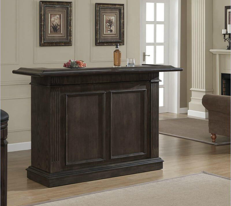 This is a very simple home bar that offers a decent amount of storage including a 9 bottle wine rack.