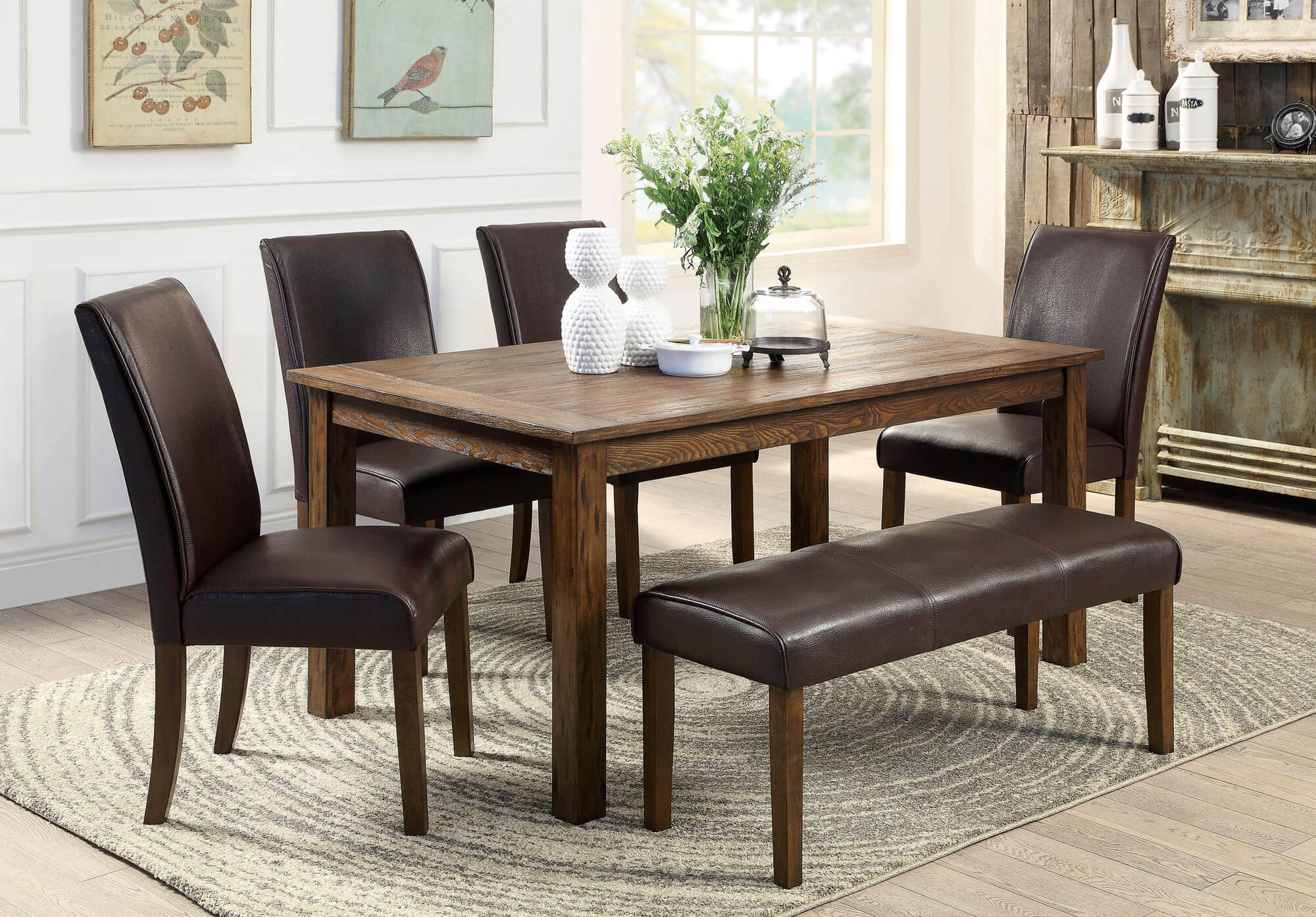 Here's a rustic rectangle dining table with fully cushioned chairs and bench. This look works beautifully in homes with a rustic, country or craftsman design. I particularly like the fully cushioned chairs and solid table design.