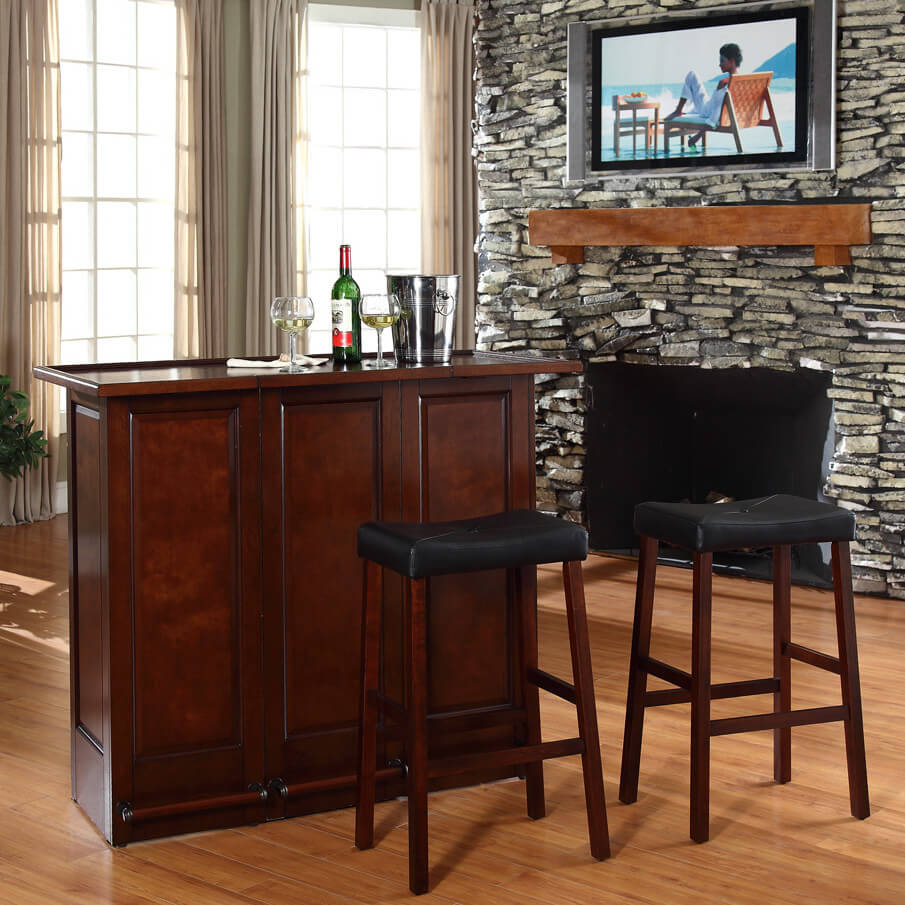 I like the front of this mini-bar but when you check out the rear, you'll notice it lacks storage compared to the other mini-bar units in this gallery. One advantage is this is a true portable home bar since it sits on castor wheels.
