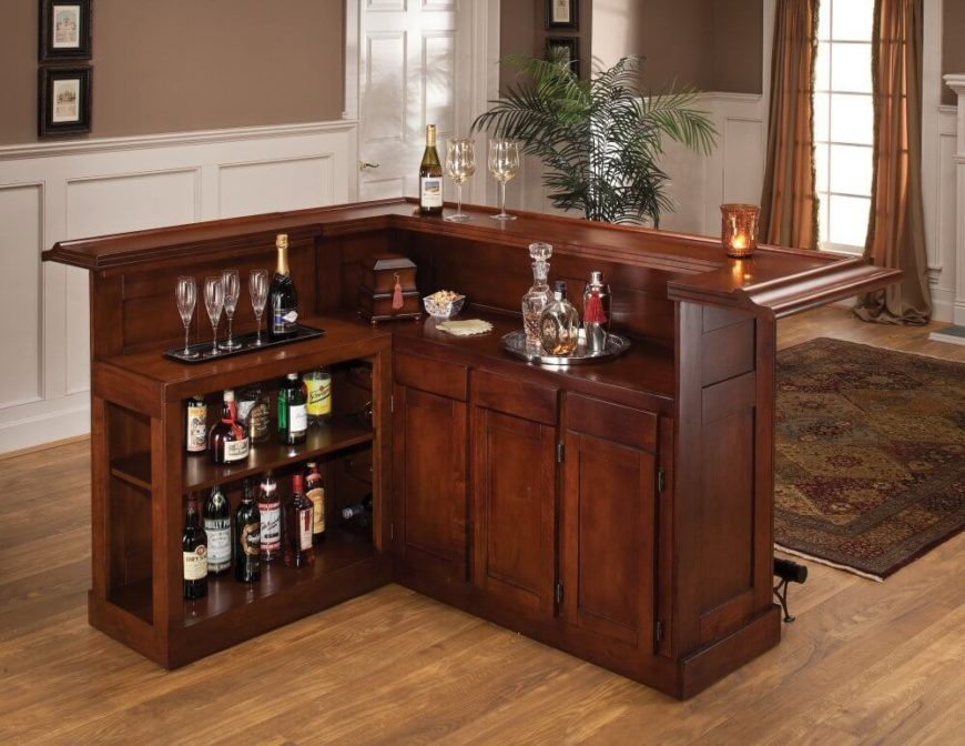 Beautiful L-shaped wood home bar