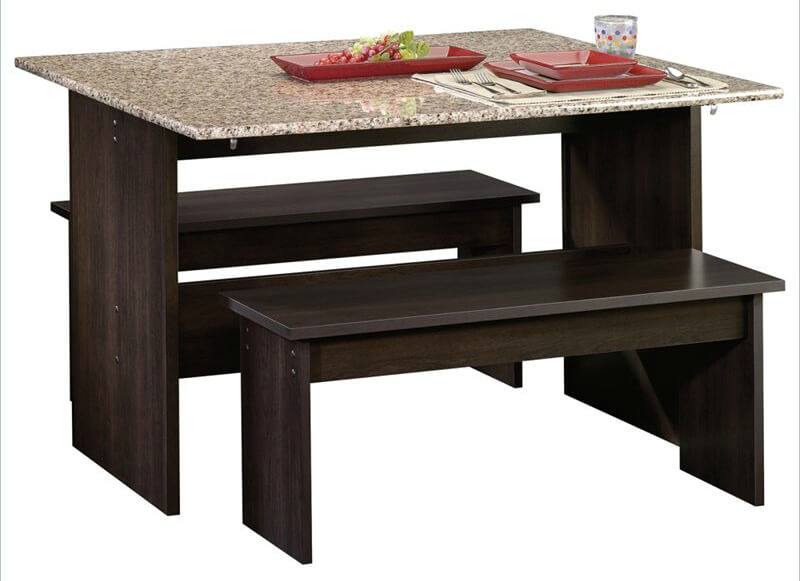This is a small dining table with two benches. It's like an indoor picnic table with a faux marble table top.