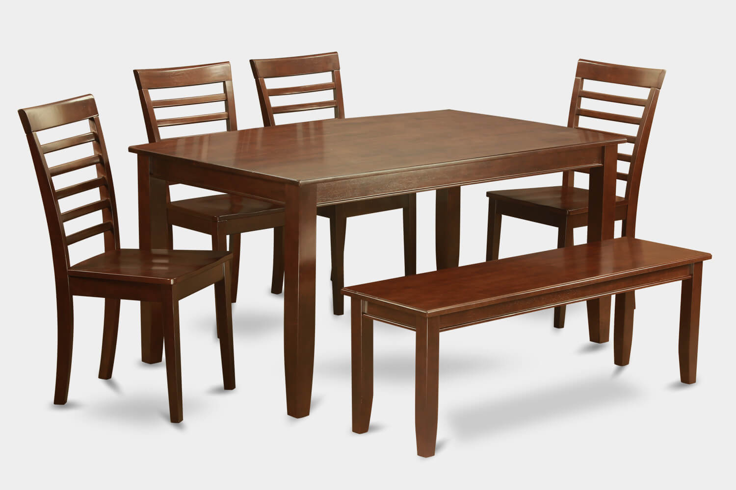 Here's another solid Asian wood dining set with bench in a traditional style. It's a simple design with soft brown finish that would work well in many dining spaces being fairly conservative and traditional in design and color.