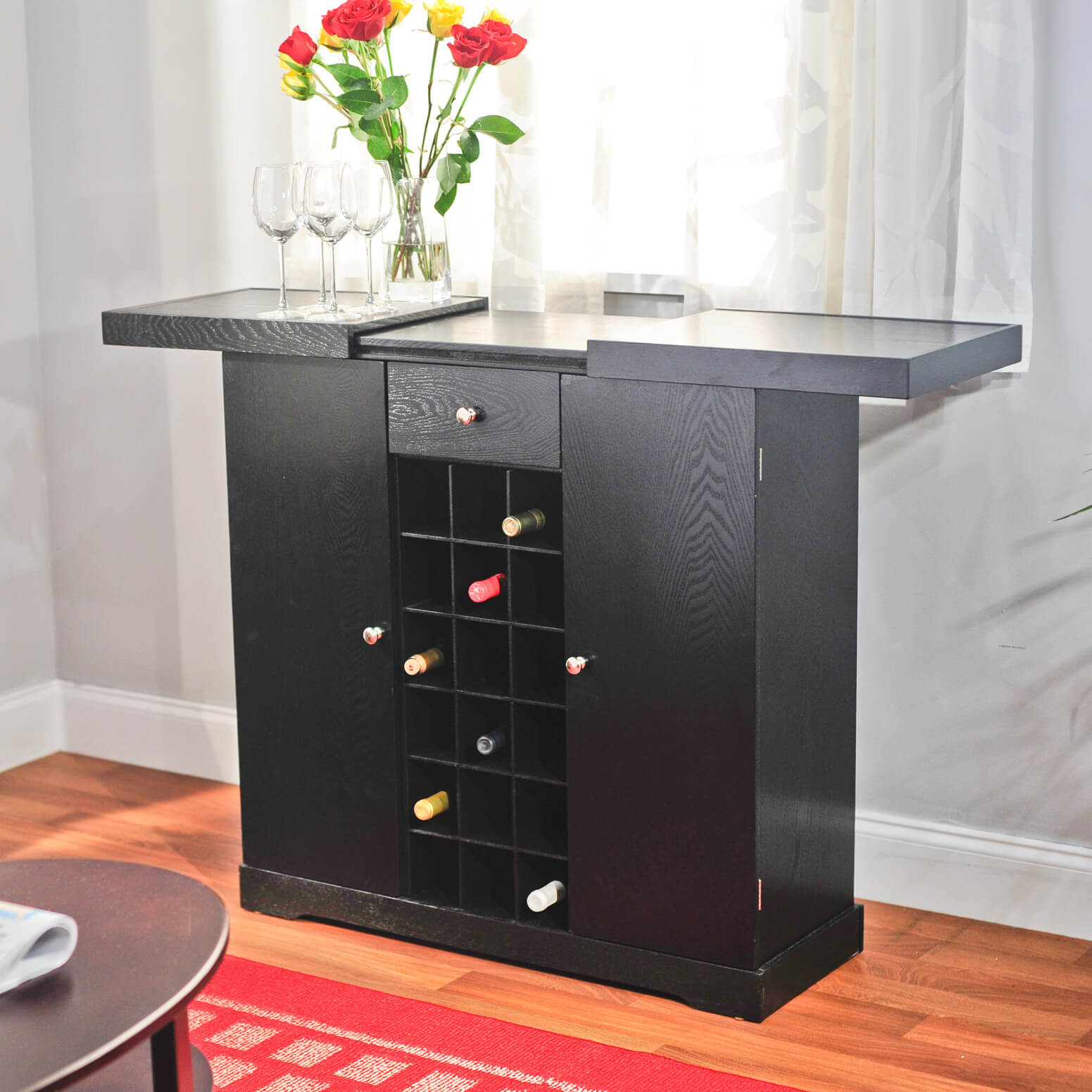 This is a classic cabinet instead of a bar. We included it in this gallery because of it's unique symmetrical, clean lines design.