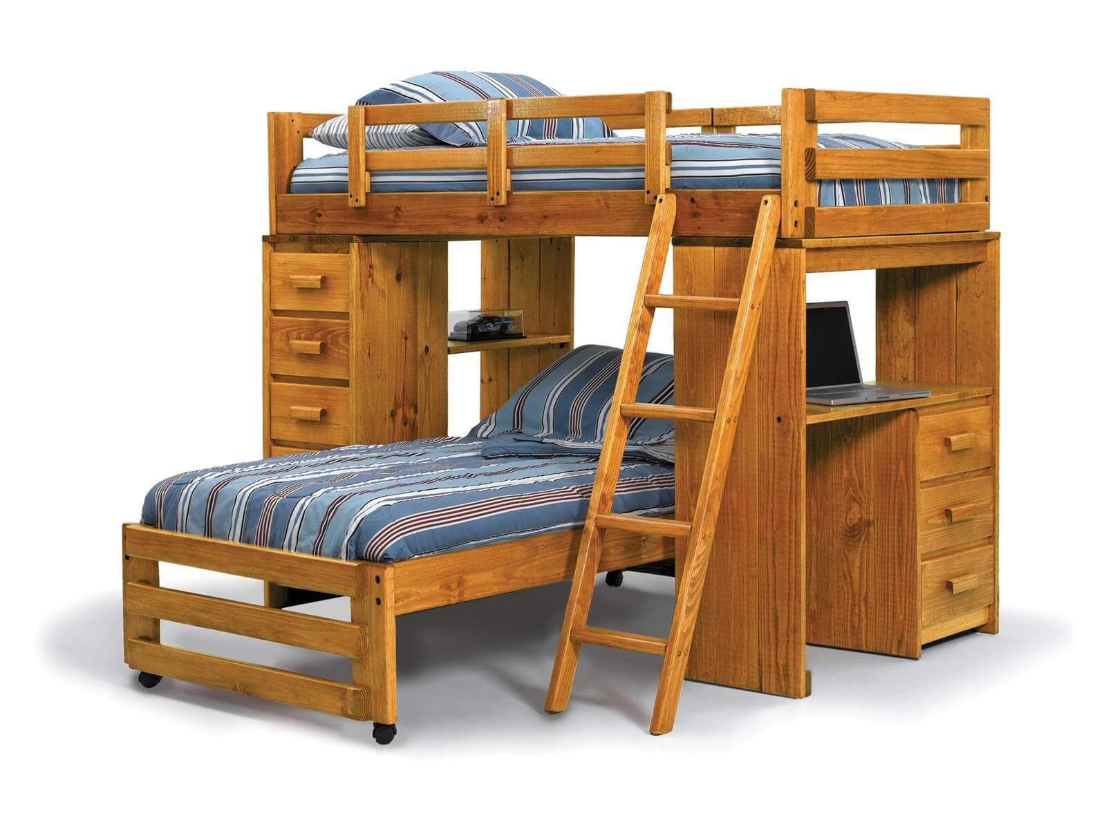 This pine L-shaped bunk with twin-over-twin includes a desk area, open shelving and drawers. The lower bed is on wheels and is detachable from the main unit.