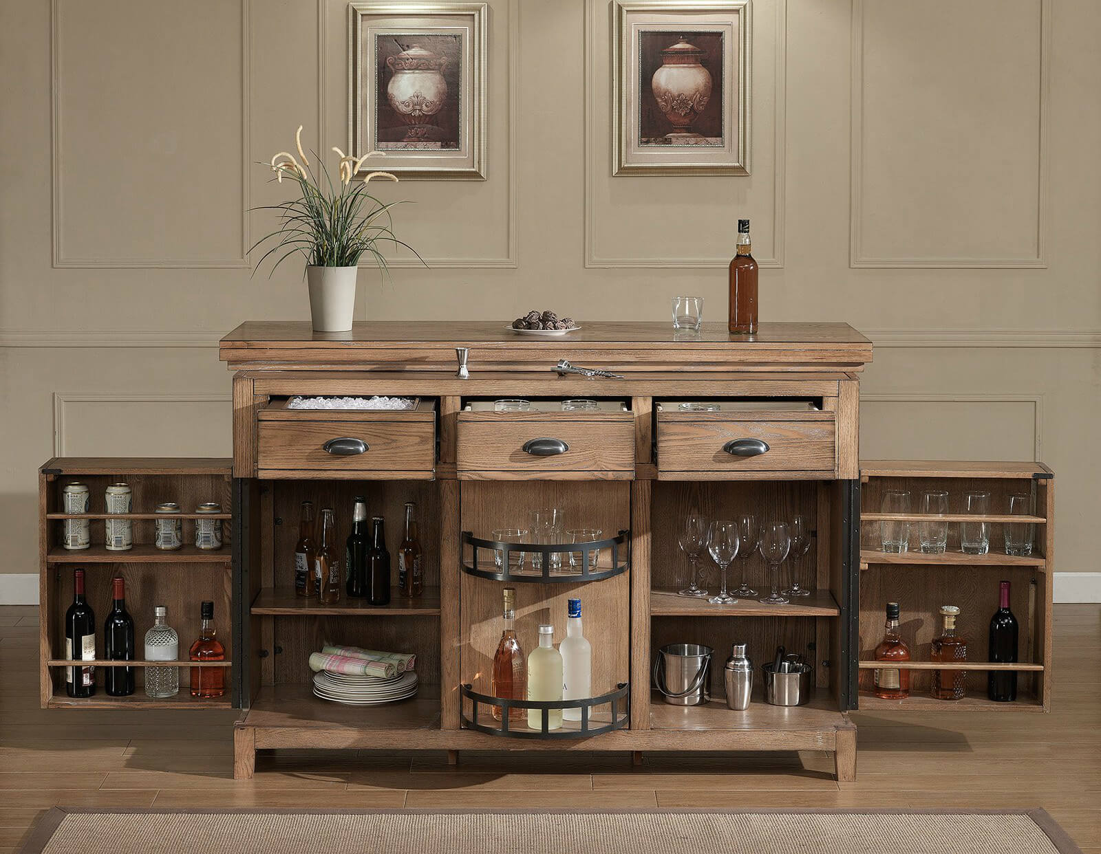 As you can see, the amount of storage in this rustic home bar cabinet unit is substantial. However, notice that it doesn't include a wine rack. In the center where the larger bottles are place, that's a Lazy Susan, which is a great storage feature.