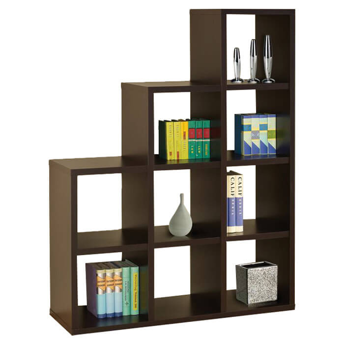 This is another staircase style 9-cube bookshelf with no back. Each section is the same size. As you can see, the sections are large enough for books.